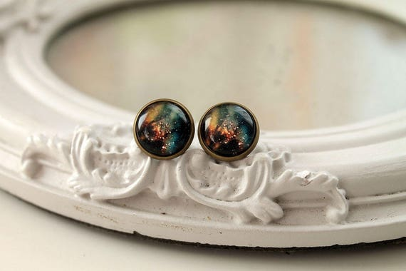 Pretty galaxy earrings studs barss toned posts space astronomy black yellow