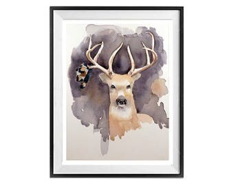 Deer Paintings | Deer Wall Art | Deer  | Deer Art prints | | Deer Drawings | Deer Illustrations | Animal Art | LaBerge