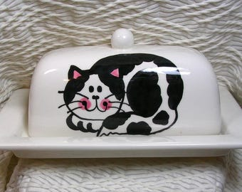 Black & White Cat On Ceramic Butter Dish Handpainted Original by Grace M Smith