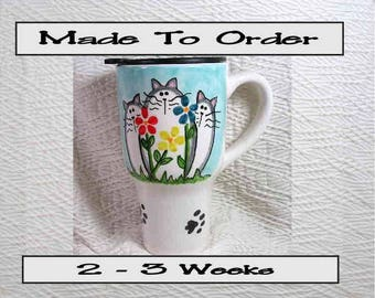 Cats & Flowers Travel Mug Handmade To Order Original Design Kiln Fired Signed On Bottom GMS