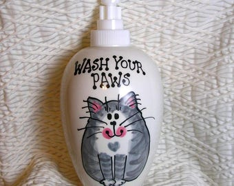 Smiling Gray Cat Soap Dispenser Wash Your Paws Handmade Ceramic by Grace M Smith
