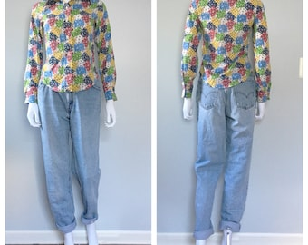 Vintage 1970s patchwork top / strawberry button up top / Novelty blouse 70s xxsmall xsmall