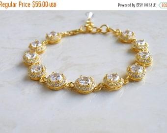 Summer Sale Bridal Bracelet CZ Gold Halo CNB4PGold