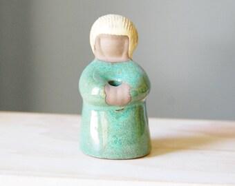 Vintage Swedish Pottery Vase Girl 1960s Mid Century Modern Mait Orn
