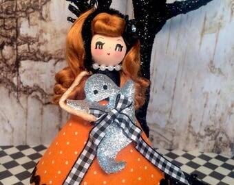 Halloween doll halloween ornament orange and black vintage retro inspired ghost halloween decor party decor keepsake doll