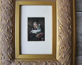 Vintage Inspired French Art Print,Vintage Art, Vintage Framed Art, Vintage wall decor, framed print,Girl Reading Book, Library Print