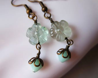 Natural Fluorite Earrings flowers fluorite crystals beaded mint aqua blue brass earrings bronze jewelry handmade jewelllery romantic gift