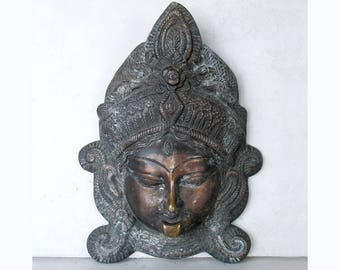 Bronze Crowned Shiva Head Wall Plaque Vintage Religious Altar Decor Wall Hanging Hindu God