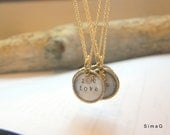 NEW - my exclusive jewelry tags - Mini Initial ID Tag --Gold Filled Rim and Sterling ----- Personalized Charm Necklaces-SIMAG