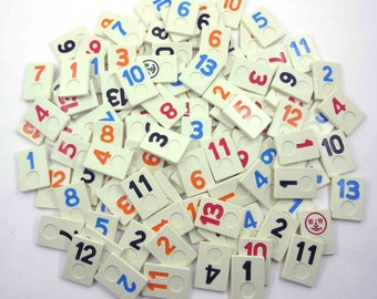 Plastic Rummikub Tiles or Game Pieces with Numbers and Faces Set of 106