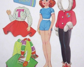 Vintage 1960s Tammy Paper Doll with Cheerleading Outfit
