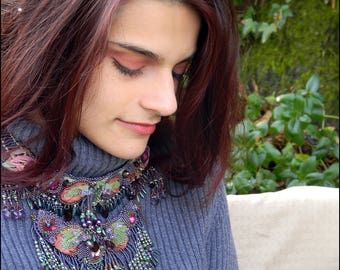 HOLD FOR TERRY Fae's Garden Bead Embroidered and Fringed Necklace - Purple and Lime Green - by Hannah Rosner