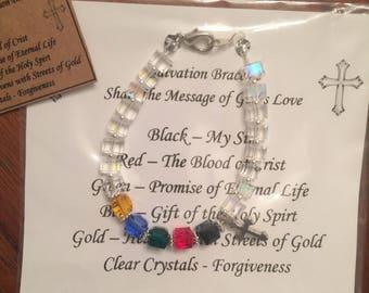 Crystal Salvation Bracelet With Czech Cube Beads Christian Jewelry Dangle Earrings
