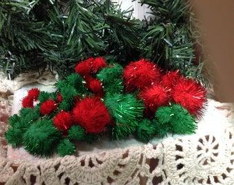 Pom Poms, Red, Tinsel Pom Poms, Green Pom Poms, Christmas Pom Poms,  Glitter Pom Poms. Christmas Supplies, Craft Supplies Set Of Pom Poms