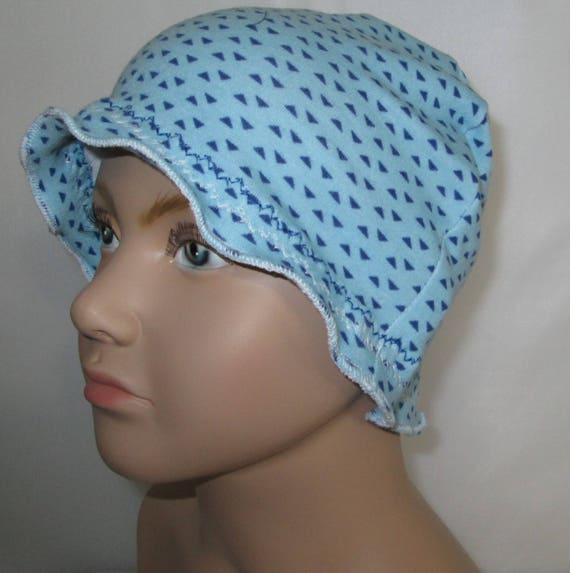 Kids Child Chemo Bonnet Cancer Hat Blue Triangles Alopecia, Turban