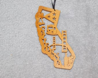 Wood State Ornament - California