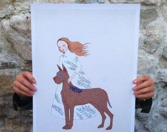 "Sale Large print of Great Dane, A3 format 11""x16"" /28x35cm/"