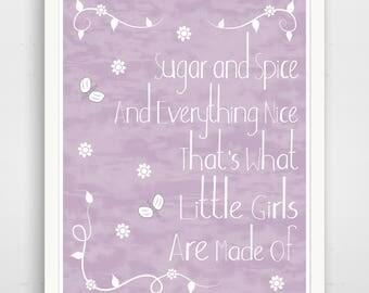 Sugar And Spice Print - Purple Baby Shower Nursery Art Sign -  Purple Girl Baby Shower Decorations Girl