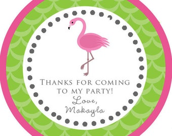 DIY Printable File- Pink and Green Flamingo Party Thank You Stickers, Tags, Labels- Avery Label 22807