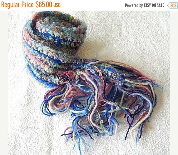 CLEARANCE - Blue/pink scarf, fringed scarf, chunky scarf, winter scarf, wool scarf, women accessory, long scarf