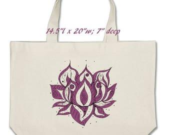 Lotus flower tote bag oversized tote jumbo tote market bag bridesmaid bag bride bag shopping tote yoga bag floral flower tote reusable bag