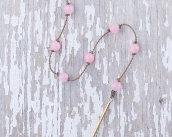 """pink jade """"Y"""" / handspun knotted rope necklace / waterproof / life-proof / island jewelry / minimalist beauty / tula blue"""