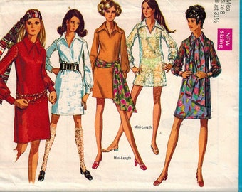 1969 Simplicity 8333 Retro Mod Dress Sewing Pattern Vintage Size 8 Beach Cover Up