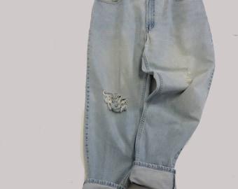 38 Raw Destroyed Vintage Levi Boyfriend  jeans 38 waist denim jeans