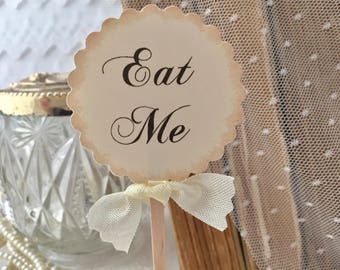 Eat Me Toppers, Eat Me Cupcake Toppers, Alice in Wonderland Cupcake Toppers, Food Picks Set of 12