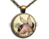 20% OFF - Royal Crown Flying Pig Glass Dome Pendant or with Chain Link Necklace AN173