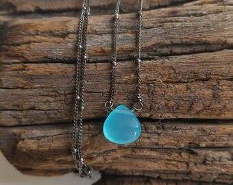 Petite Blue Chalcedony Drop Oxidized Sterling Silver Necklace