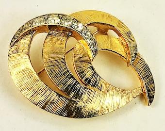 Trifari Brooch- Interlocking Swirls - Rhinestones - Designer Signed - Modernist- Gold Tone Vintage