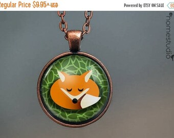 ON SALE - Fox : Glass Dome Necklace, Pendant or Keychain Key Ring. Gift Present metal round art photo jewelry by HomeStudio