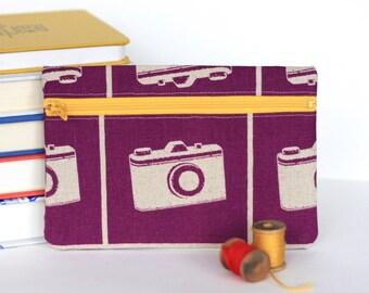 Purple Camera Case Zipper Bag Accessory Pouch
