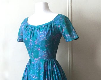 vintage 1950s blue watercolor floral party dress - size extra small, xs