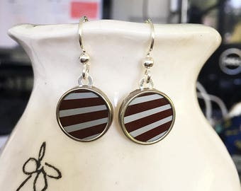 Blue and brown striped earrings made from recycled tins.  Sterling Silver ear wires.  Super lightweight.