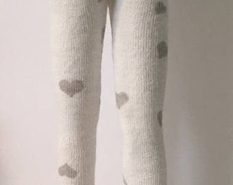 White Tights With Gray Hearts...For Blythe...
