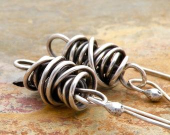 Sterling Silver Earrings, Large Twisted Wire Dangle Earrings, Everyday Earrings, #4095