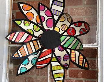 Metal Flower door decoration, Spring door decor