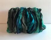 Undyed Silk Ribbon-Dark Green, Teal, Turquoise Sari Ribbon-10 Yards