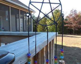 Pentacle Metal Wind Chime With Beads and Bells Windchime