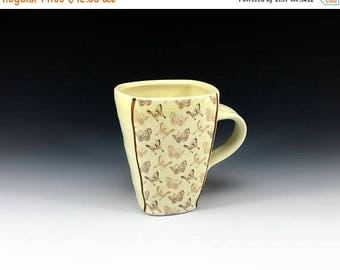 ON SALE Squared porcelain mug with creamy lemon yellow glaze and butterfly pattern