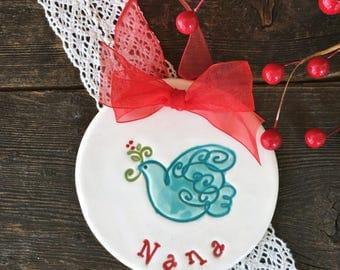 Dove Custom Christmas Ornament - Dated 2017, Personalized Christmas Ornaments, Christmas Decoration, Xmas Ornament, Christmas Decorations