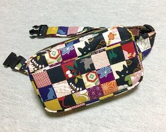 Body Bag / Waist Pouch / Hip Bag  / Fanny Pack --- Kimono Cat - Rose Red