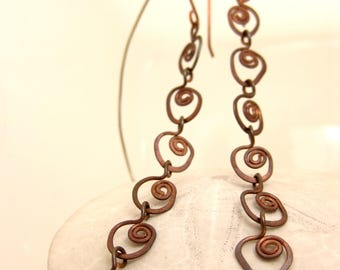 Earrings- Hammered Copper Spiral Chains (Long)