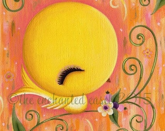 50% OFF Yellow Bird, Painting, Cute, Nursery Art, Girls Room, Square, Canvas, Whimsical, Kawaii, Canary, Bird, Girls Wall Art, Flowers