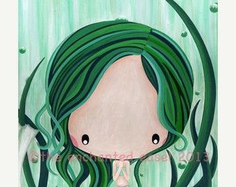 50% OFF Emerald Mermaid, Original Painting, Green, Birthstone, Girls Wall Art, Whimsical, Canvas, Ocean, Girls Room, Nursery Art, Fantasy