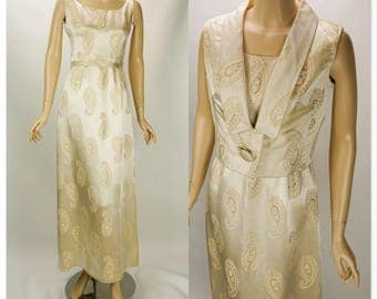 1960s Vintage Gold Jacquard Formal Evening Gown with Jacket by Starke of London - Madame Runge B34 W26