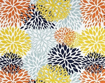 ON SALE MUMS Table Runner -white, light blue, yellow, navy, and burnt orange. Mums bloom Floral-  Table Runners- Wedding -Bridal - Home Deco