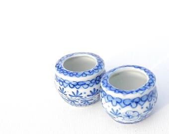 Miniature Garden Planter Set for Fairy Garden, Dollhouse Garden Asian Miniature, Blue & White, Hand Painted Porcelain Set of 2 Flower Pots